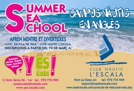 L'école de langues Yes ! en collaboration avec le CLub Nàtic de L'Escala organise un camp nautique en anglais
